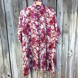 Vintage Floral Print Silk Kimono Robe Pink